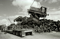 Ruston DS88 being craned on to lowloader at Booths 1988